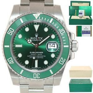 mint  papers rolex submariner hulk lv green dial ceramic  box ebay