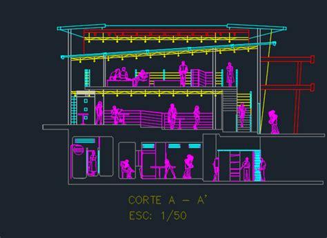 levels cafeteria  cuts  dwg design elevation  autocad designs cad