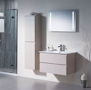 odesign meuble suspendu modena 800 cafe au lait satine With carrelage adhesif salle de bain avec ecran o led