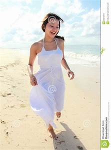 Young Happy Woman Running On The Beach Royalty Free Stock ...