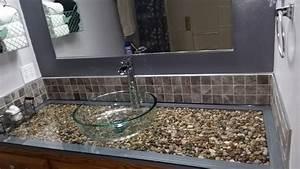 Hometalk Pebble and Glass Bathroom Vanity