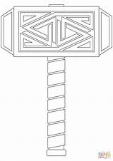 Thor Coloring Hammer Pages Mjolnir Printable Template Drawing Templates Sketch Paper Cartoon Norse Mjoelnir Mythology Only sketch template