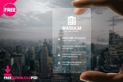 transparent minimalistic business card freedownloadpsdcom