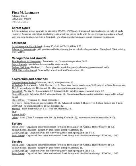 Scholarship Resume Templates by Resume Sle In Word 10 Exles In Word