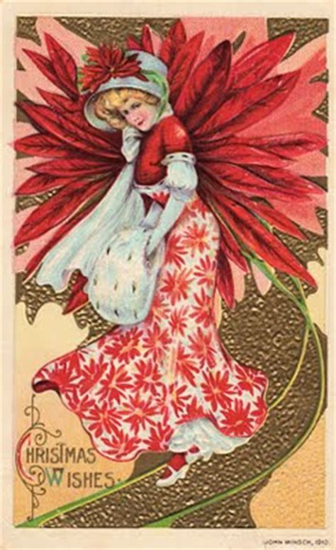 victorian clip art christmas girl  pointsettia
