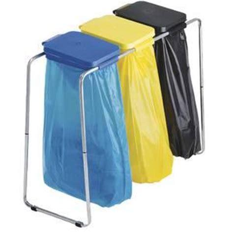 support sac poubelle cuisine support pour sacs poubelle 3 elements avec couvercles