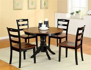 small kitchen dining tables Two Tone Round Wood Dining