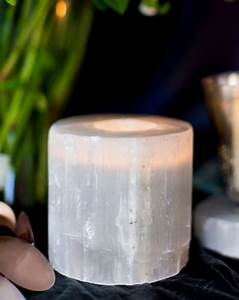 selenite tealight holders plates burke decor With kitchen cabinets lowes with selenite candle holders