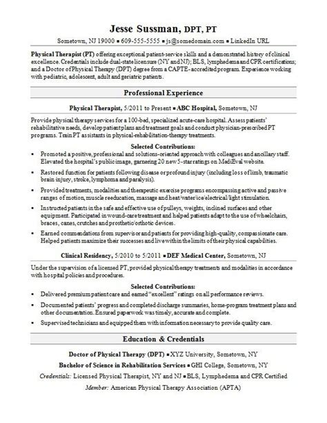 Physical Therapy Resume Sle by Therapist Cover Letter Sarahepps