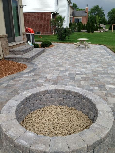 built in patio pits stone patio with built in fire pit