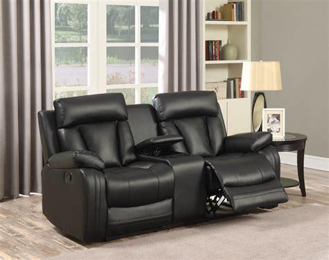 Modern Reclining Loveseat by Kyson Modern Black Bonded Leather Reclining Sofa