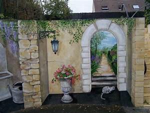 Mur Trompe L Oeil : le petit jardin trompe l 39 oeil et peinture murale ~ Melissatoandfro.com Idées de Décoration