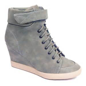 womens boots uk 9 womens pebble grey lace up velcro ankle wedge trainer boots size 3 9 ebay