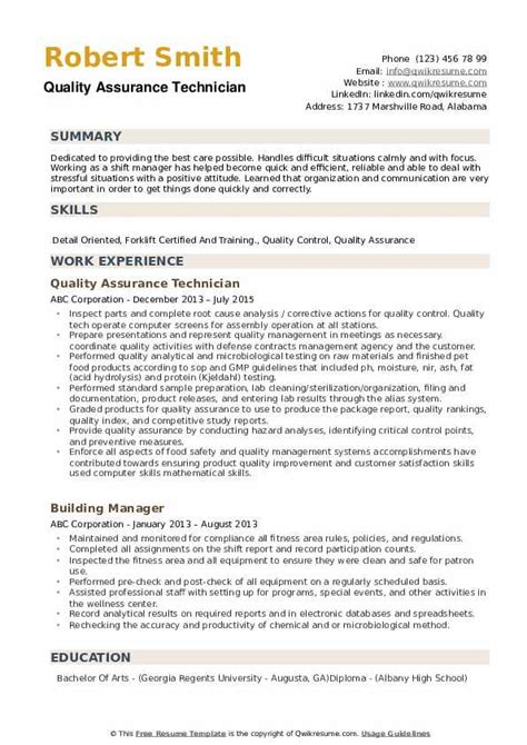Resume Qualities by Quality Assurance Technician Resume Sles Qwikresume