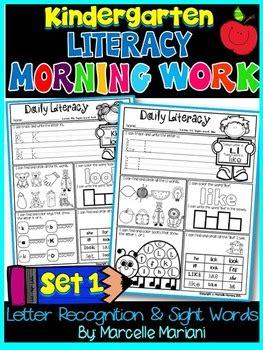 kindergarten morning work beginning sounds sight word
