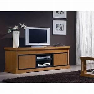 Meuble Tv Bois Massif Moderne : meuble tv merisier massif cesar meubles elmo ~ Teatrodelosmanantiales.com Idées de Décoration