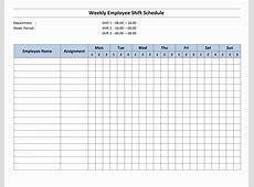 Weekly 8 Hour Shift Schedule