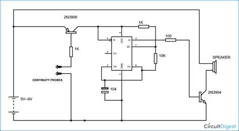 Simple Continuity Testing Circuit Diagram Using Timer