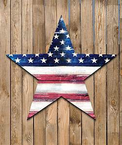 USA Flag Star Rustic Painted Wooden Shape