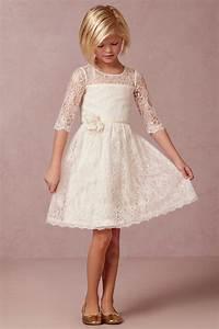 Robe De Mariée Champagne : robe de cort ge enfant fille courte en dentelle manches mi longues avec fleur madouce ~ Preciouscoupons.com Idées de Décoration