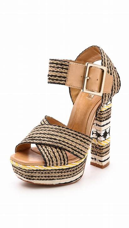 Schutz Platform Sandals Woven Wood Natural Preto