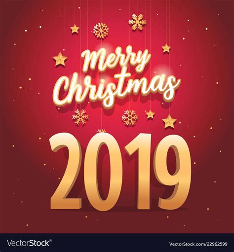 merry christmas 2019 text with elegant royalty free vector