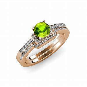 Peridot and diamond engagement ring wedding band set 1 for Peridot wedding ring set