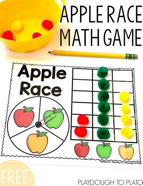 free math games for preschoolers apple race math fall activities kindergarten 684