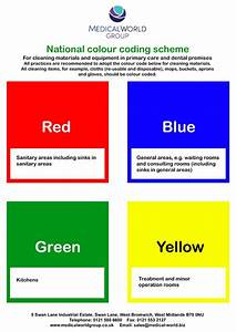 Sign - Colour Coded Scheme For Cleaning Materials A4  Laminated