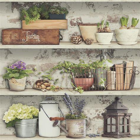 muriva potting shed wallpaper natural  wallpaper