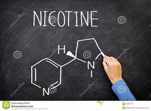 Nicotine Molecule Chemical Structure On Blackboard Stock