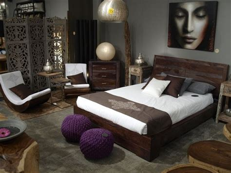 chocolate grey silver purple minimalist bedroom grey walls asian design