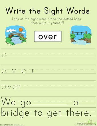 write  sight words   images  grade