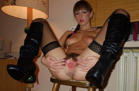 Grey Haired Milf Short Haired In Fishnet And Boots