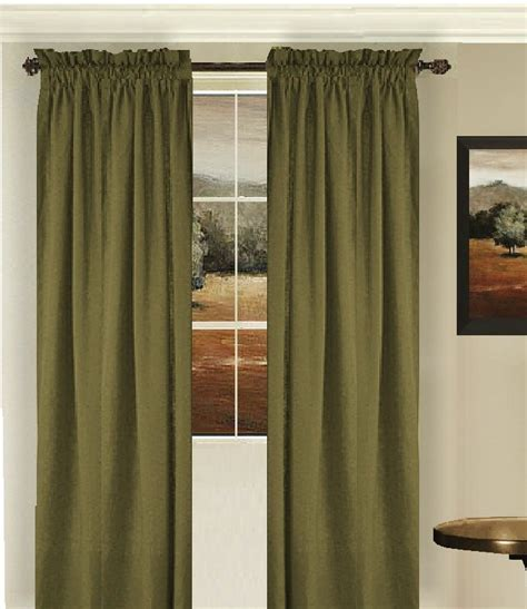Solid Olive Green Colored Window Long Curtain (available