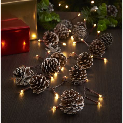 wilko christmas garland cones pre lit 1 5m with brown