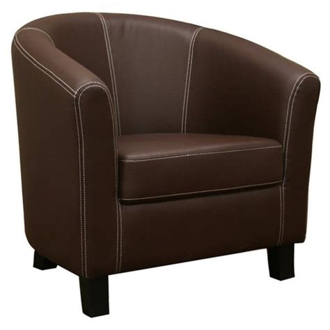 faux leather barrel club chair in brown j 018 brown