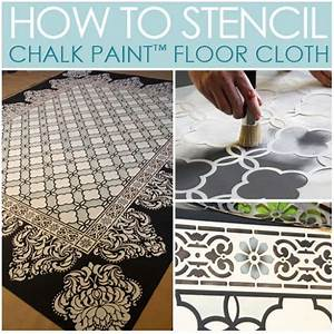 Chalk paintr stenciled floor cloth for How to paint a floor cloth