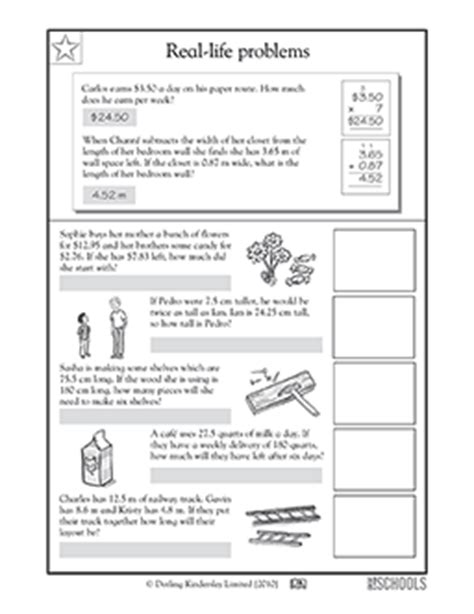 4th grade 5th grade math worksheets real problems