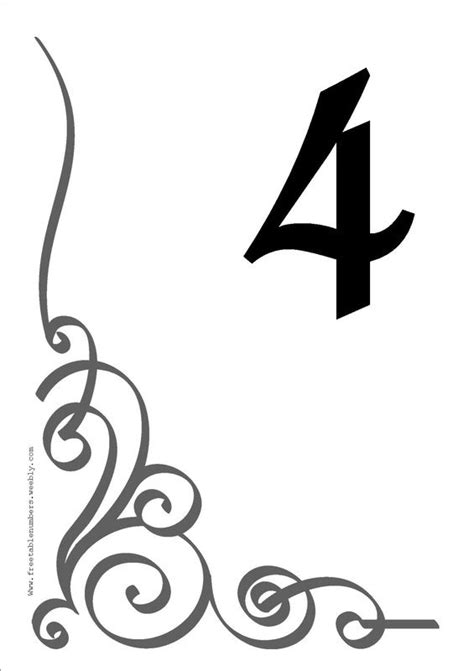 table number templates  table  style