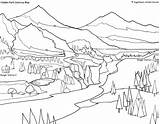 Coloring Park Pages National Yellowstone Bench Colouring Printable Map Bear Getcolorings Parks Drawing Hidden Glacier Welcome sketch template