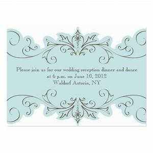 blue swirls elegant wedding reception cards large business With images of wedding reception cards