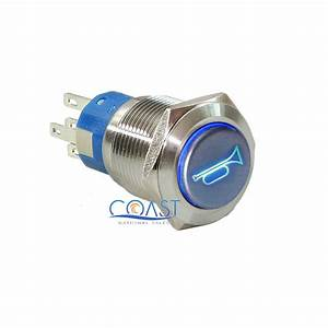 Durable 12v Led 19mm Momentary Blue Car Horn Push Button Toggle Light Switch