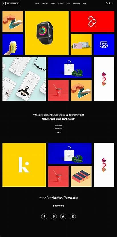 Mondrian Grid Graphic Layout Themeforest Template Ad