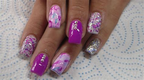 acrylic nails infill and new design purple pink