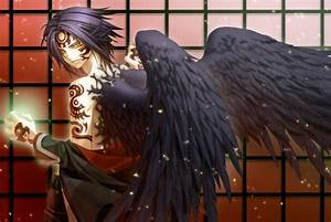 brunettes tattoos angels wings black angel anime anime ...