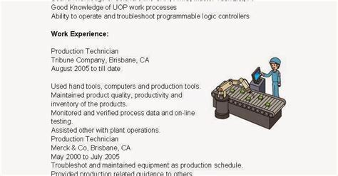Production Technician Resume Exle by Resume Sles Production Technician Resume Sle
