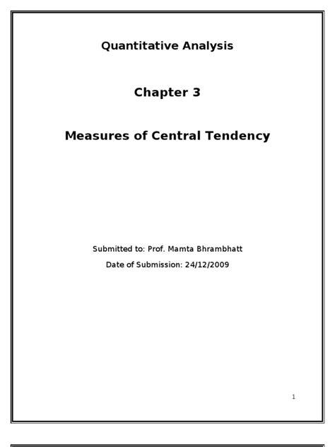 Measures of Central Tendency | Standard Deviation