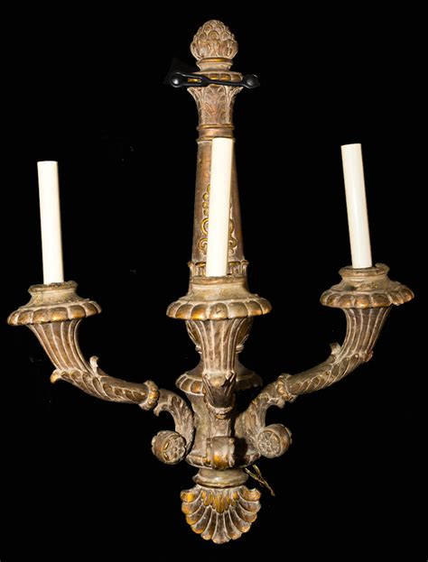 large sconces for candles antique carved louis xiv three arm large wooden
