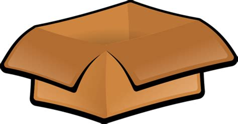 Vector Clip Art Of Open Cardboard Box With Hanging Lid
